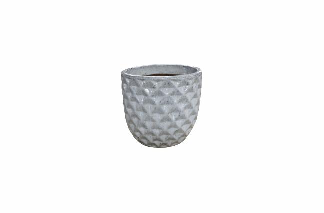 Cachepot de Cerâmica Artesanal Branco Felix 37x33cm