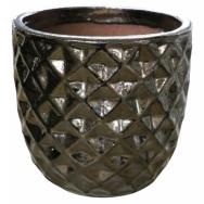 Vaso de Cerâmica Artesanal Dourado Felix 21x20cm