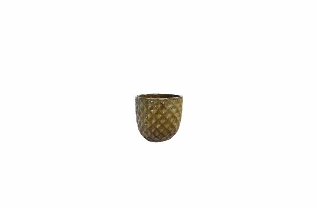 Cachepot de Cerâmica Artesanal Marrom Felix 21x20cm