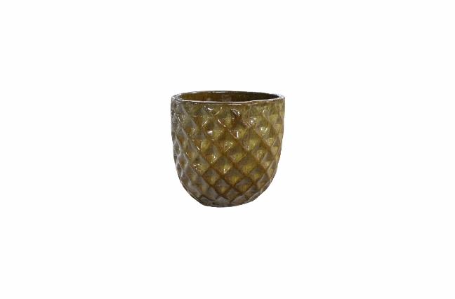 Cachepot de Cerâmica Artesanal Marrom Felix 37x33cm