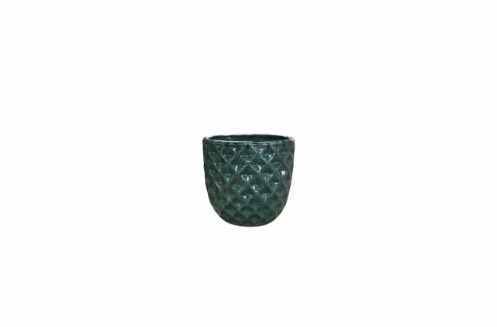 Cachepot de Cerâmica Artesanal Verde Felix 26x26cm