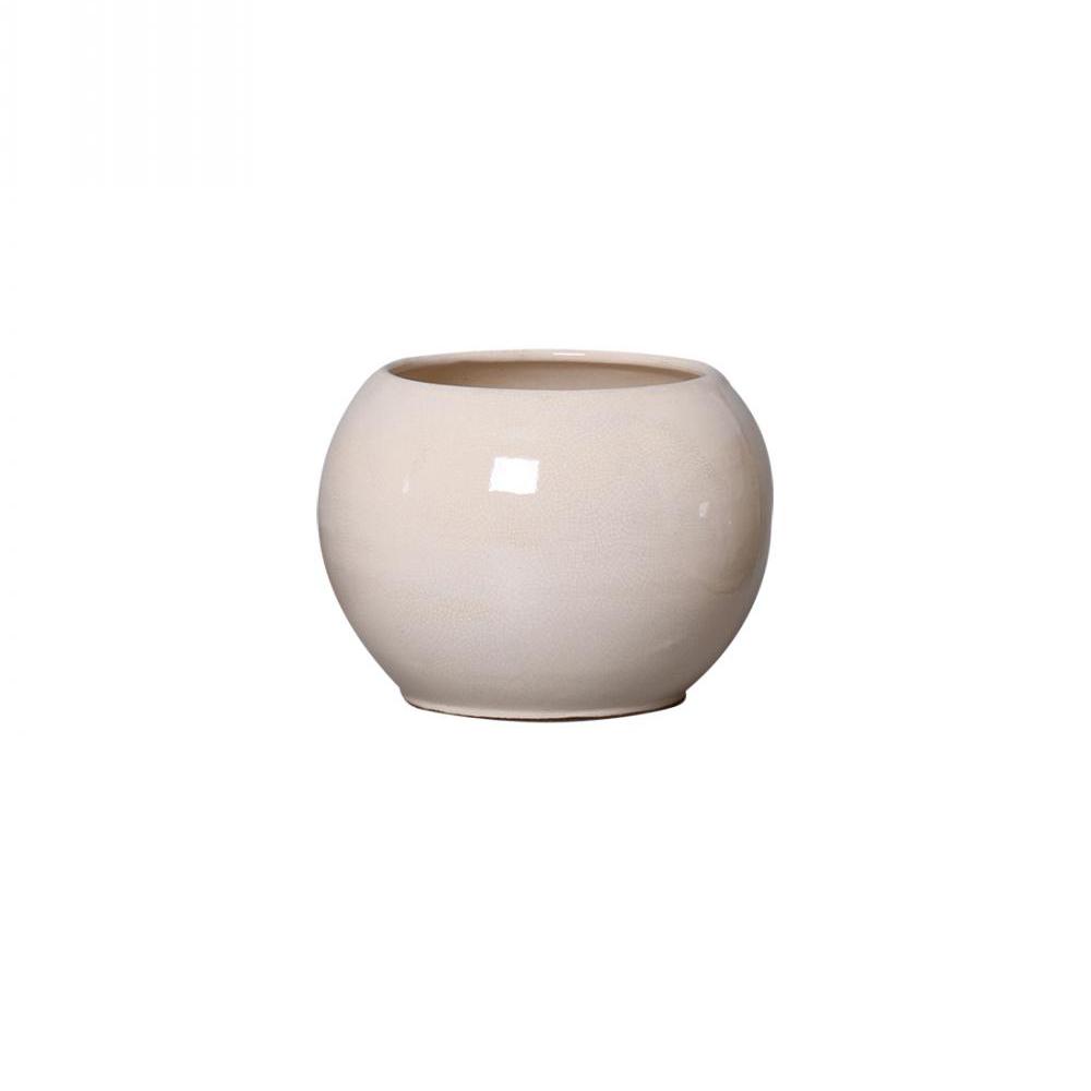 Cachepot de Cerâmica Branco Redondo 19x13cm