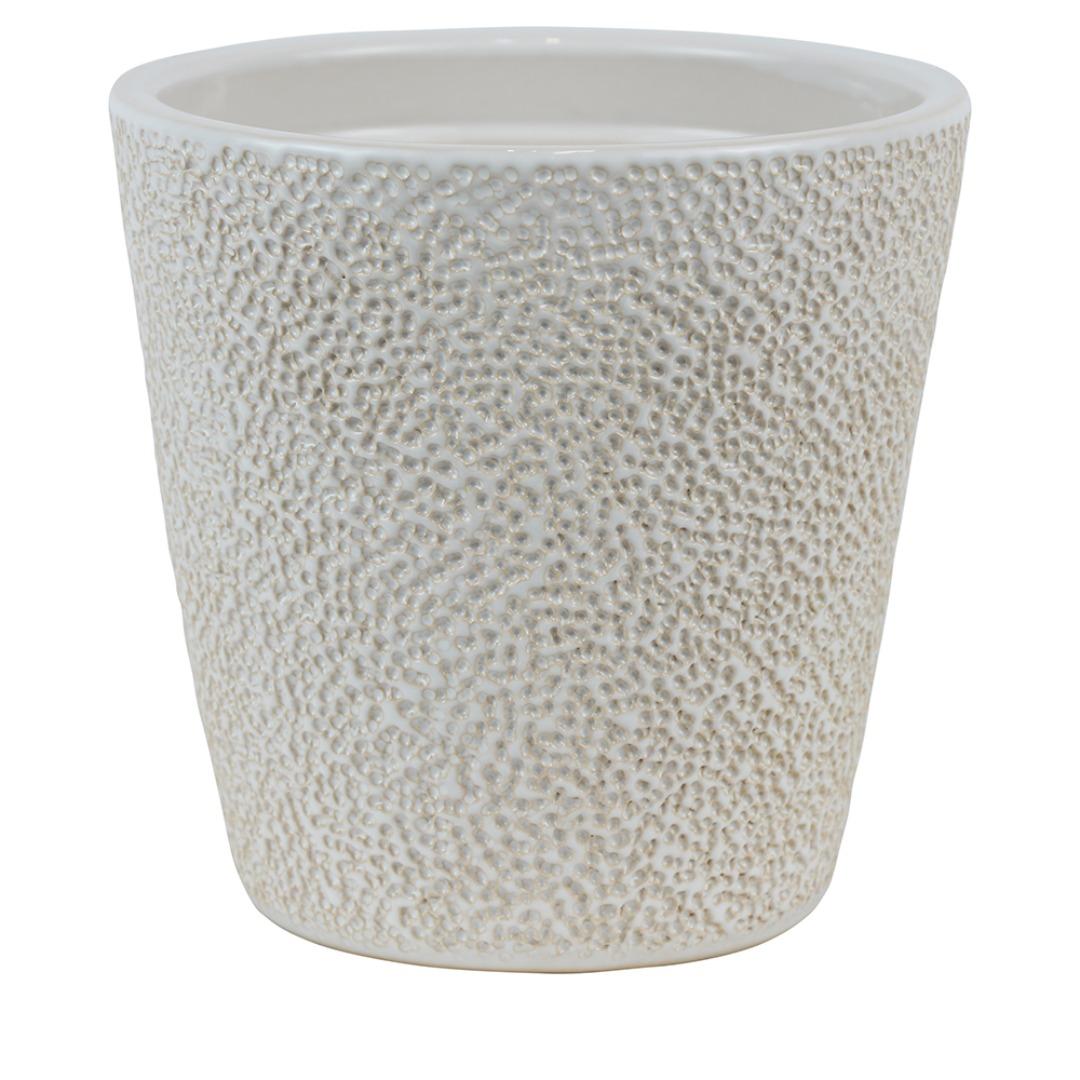 Cachepot de Cerâmica Branco Senegal 17X16cm