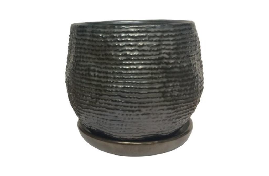 Cachepot de Cerâmica c/ Prato Preto Suus Anthracite 16x13cm
