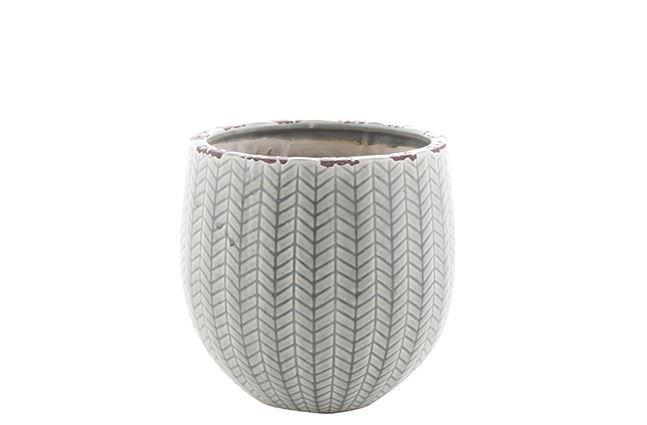 Cachepot de Cerâmica Cinza Claro Faja 21x20cm