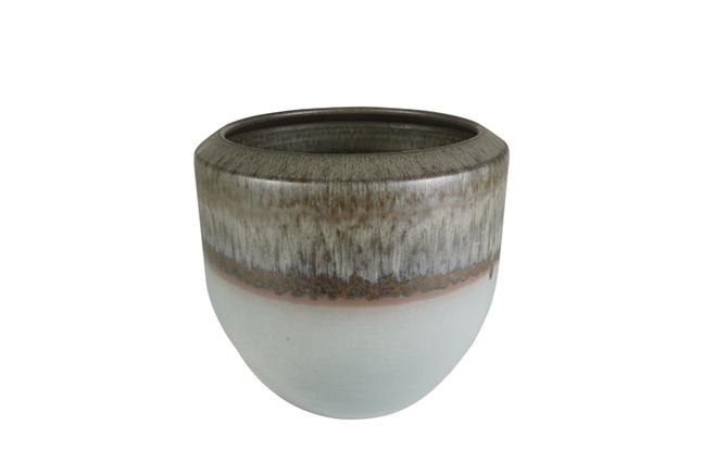 Cachepot de Cerâmica Cinza Vivian 28x25cm