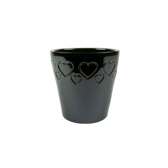 Cachepot de Cerâmica com Corações Chumbo Senegal 17x16cm
