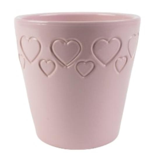 Cachepot de Cerâmica com Corações Rosa Senegal 17x16cm