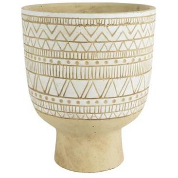 Cachepot de Cerâmica Natural c/Branco Nicol 14x16cm