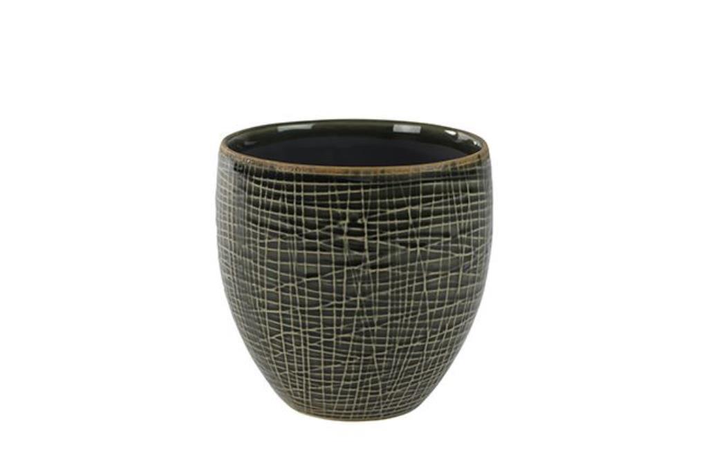 Cachepot de Cerâmica Verde Escuro Lotte 11x11cm