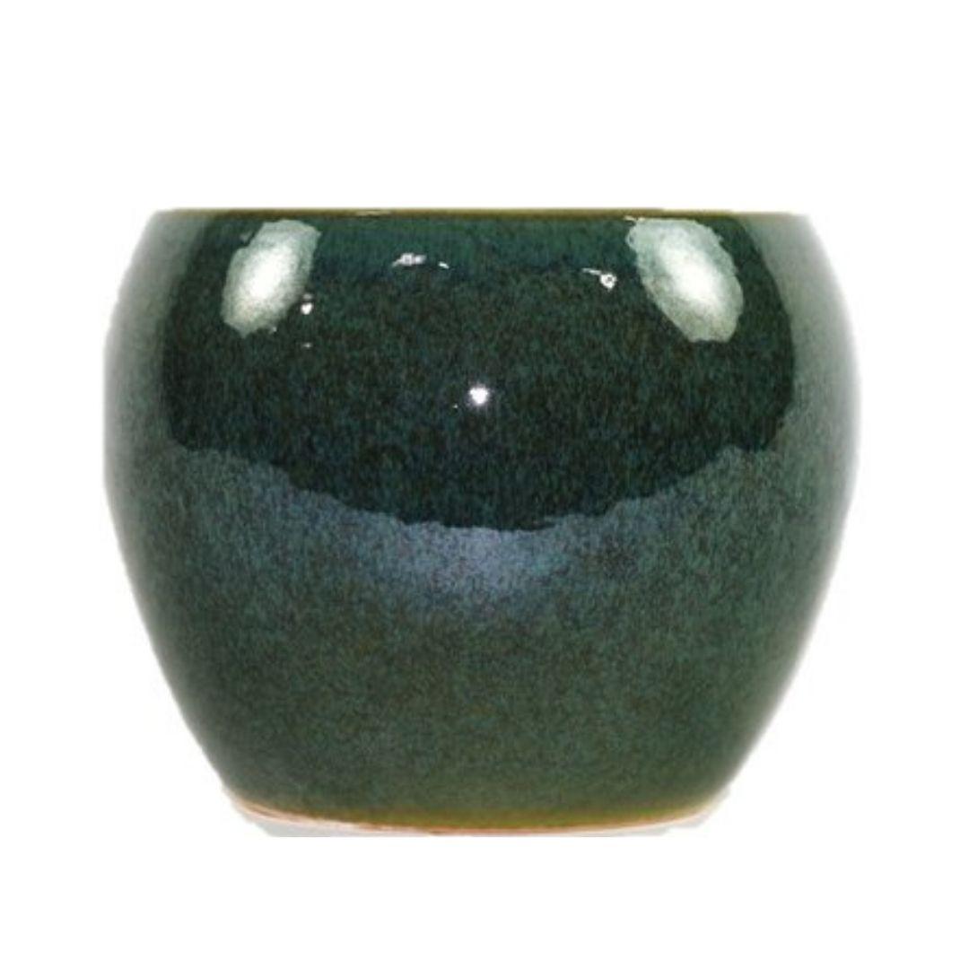 Cachepot de Cerâmica Verde Musgo Artesanal Holandês Lorance 19x15cm