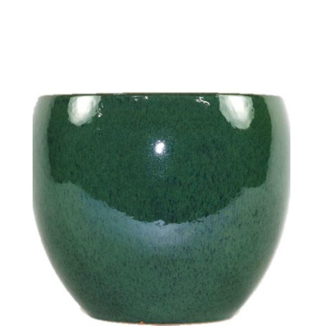 Cachepot de Cerâmica Verde Musgo Artesanal Holandês Lorance 21x18cm