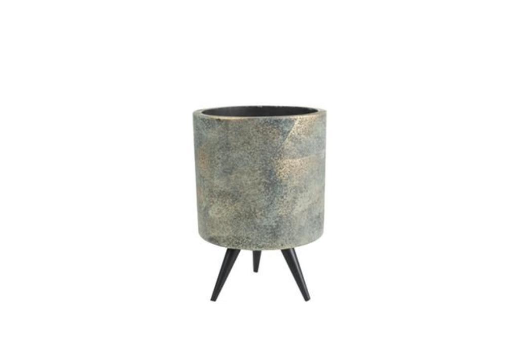 Cachepot de Cimento Artesanal Grafite c/ Ouro Imre 8x12cm
