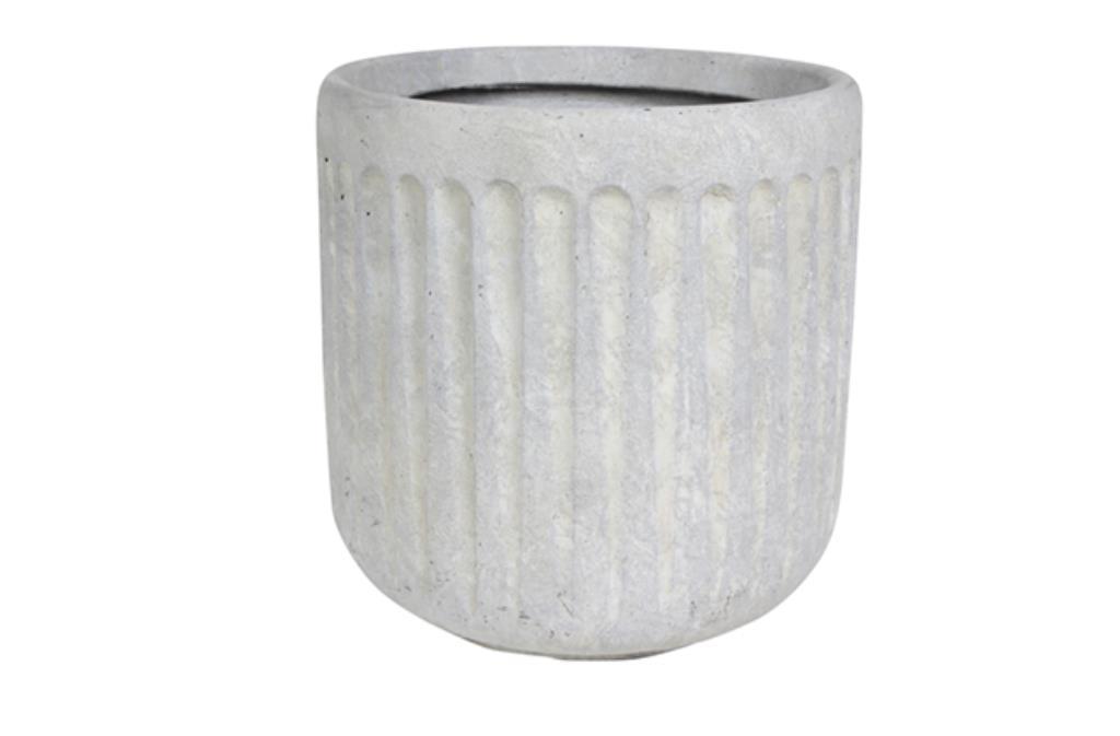 Cachepot de Cimento Artesanal Marfim Duncan 36x37cm