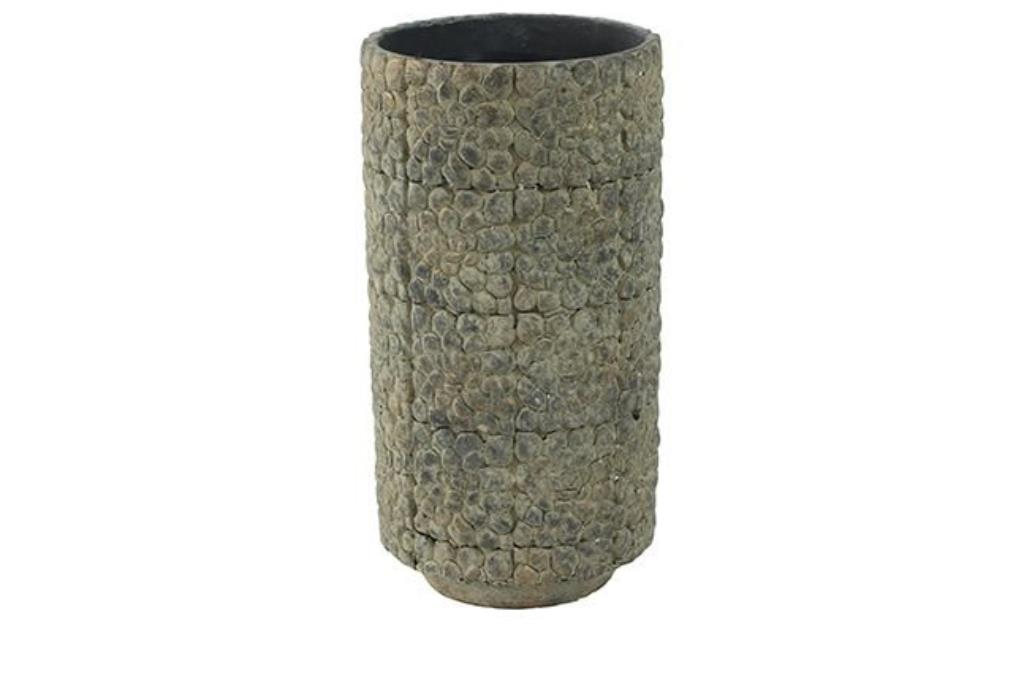 Cachepot de Cimento Artesanal Cinza Mesclado Bloom 14x27cm
