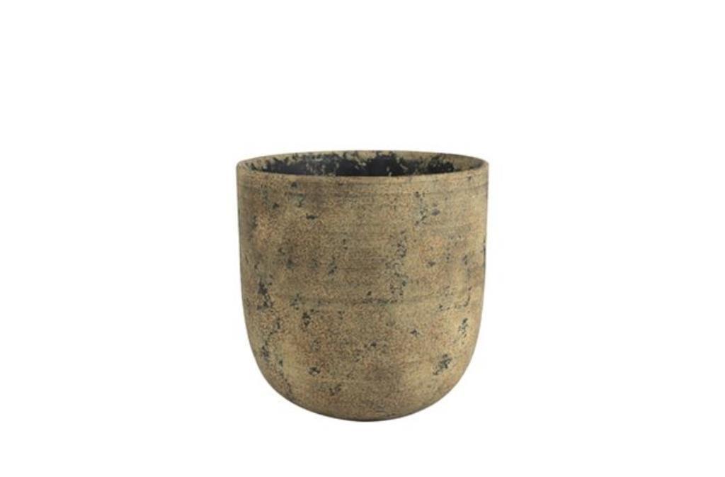 Cachepot de Cimento Artesanal Marrom Dian Camel 13x13cm