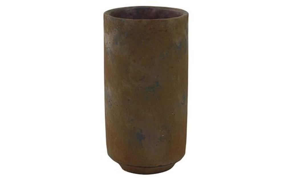 Cachepot de Cimento Artesanal Marrom Saar 14x27cm