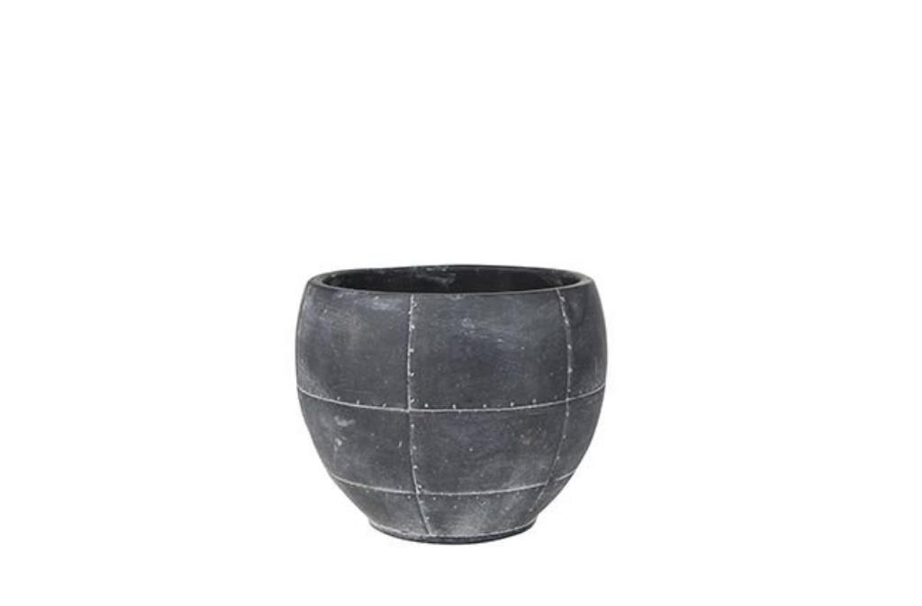 Cachepot de Cimento Artesanal Preto Detroit 18x14cm