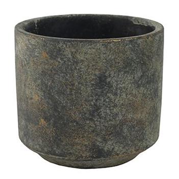 Cachepot de Cimento Preto Mesclado Saar 14x13cm