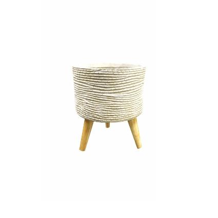 Cachepot de Fibrocimento Marfim Artesanal Riva 24x28cm