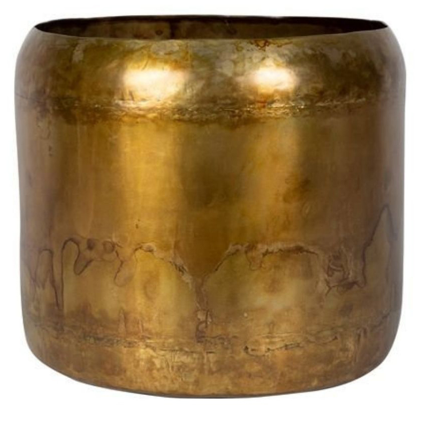 Cachepot de Metal Artesanal Caramelo Indiano 26x22cm