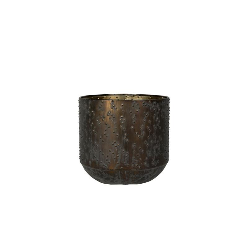 Cachepot de Metal Artesanal Cobre Preto Lian 19x17cm