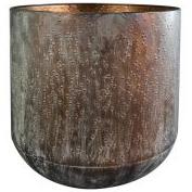 Cachepot de Metal Artesanal Cobre Preto Lian 23x22cm