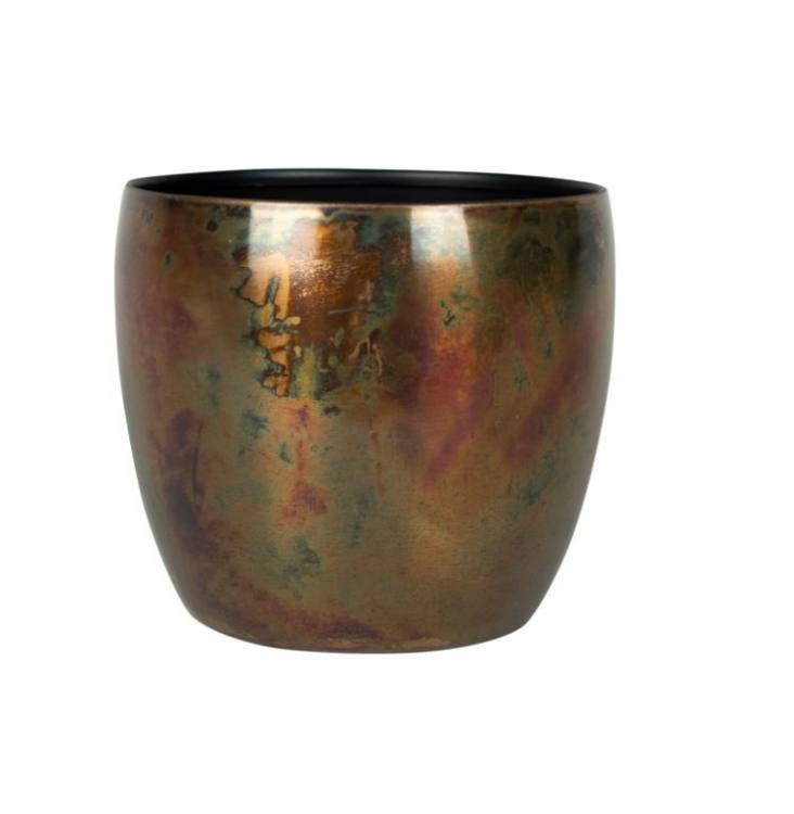 Cachepot de Metal Artesanal Cobre Sky Burn Indiano Kody 15x12cm