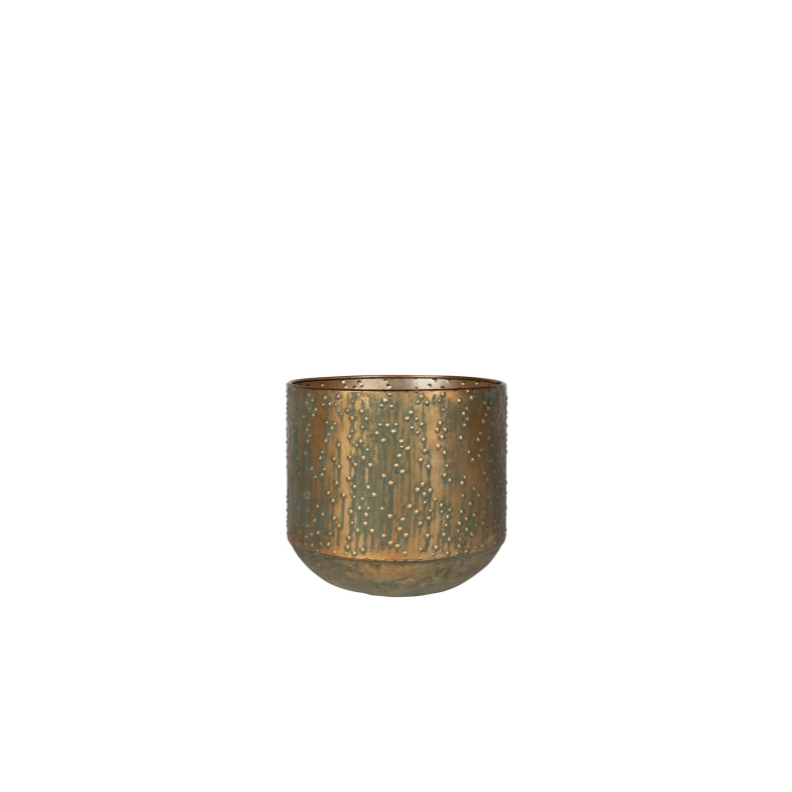 Cachepot de Metal Artesanal Cobre Verde Lian 15x16cm