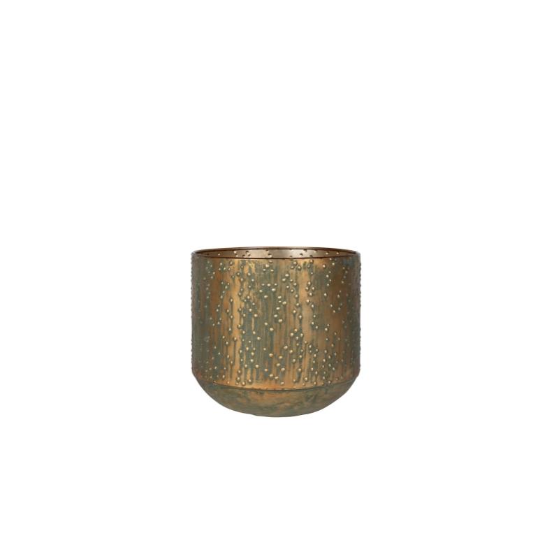 Cachepot de Metal Artesanal Cobre Verde Lian 19x17cm