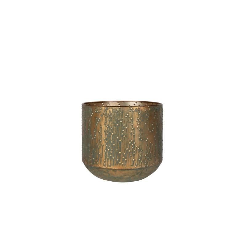 Cachepot de Metal Artesanal Cobre Verde Lian 21x19cm