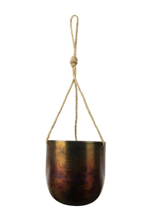 Cachepot de Metal Artesanal de Pendurar Cobre Indiano Kody Sky Burn 16x18cm