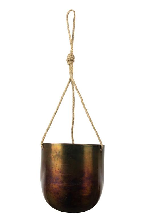 Cachepot de Metal Artesanal de Pendurar Cobre Indiano Kody Sky Burn 17x20cm