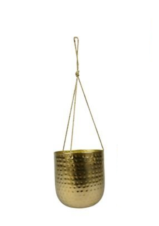 Cachepot de Metal Artesanal de Pendurar Ouro Indiano Kody 14x15cm
