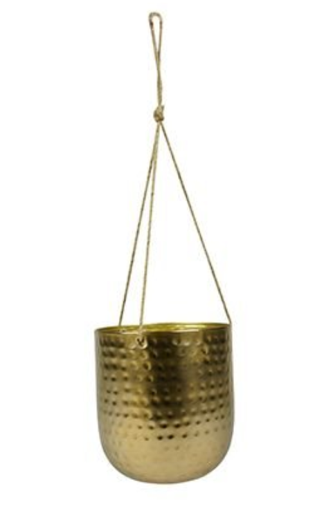 Cachepot de Metal Artesanal de Pendurar Ouro Indiano Kody 17x20cm