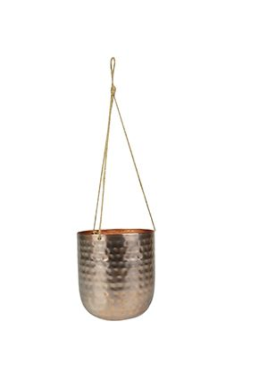 Cachepot de Metal Artesanal de Pendurar Ouro Rose Indiano Kody 14x15cm