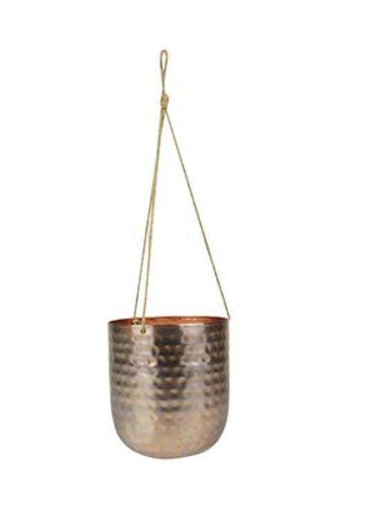 Cachepot de Metal Artesanal de Pendurar Ouro Rose Indiano Kody 16x18cm