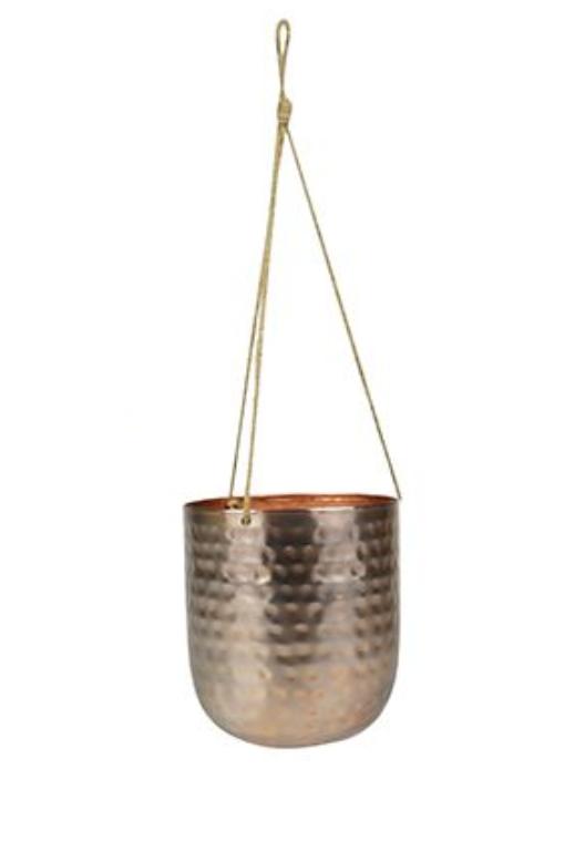 Cachepot de Metal Artesanal de Pendurar Ouro Rose Indiano Kody 17x20cm