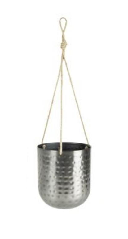 Cachepot de Metal Artesanal de Pendurar Prata Indiano Kody 16x18cm