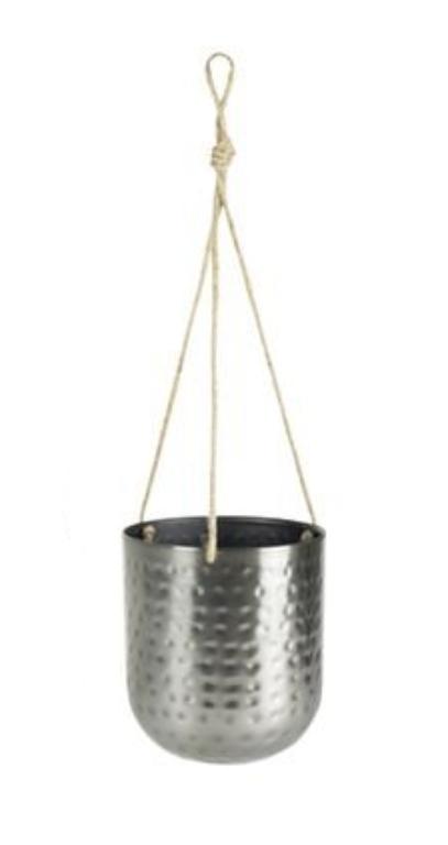 Cachepot de Metal Artesanal de Pendurar Prata Indiano Kody 17x20cm