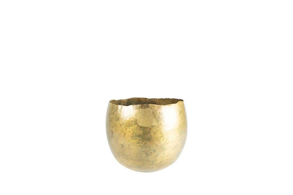 Cachepot de Metal Artesanal Dourado Indiano Ellen 25x19cm