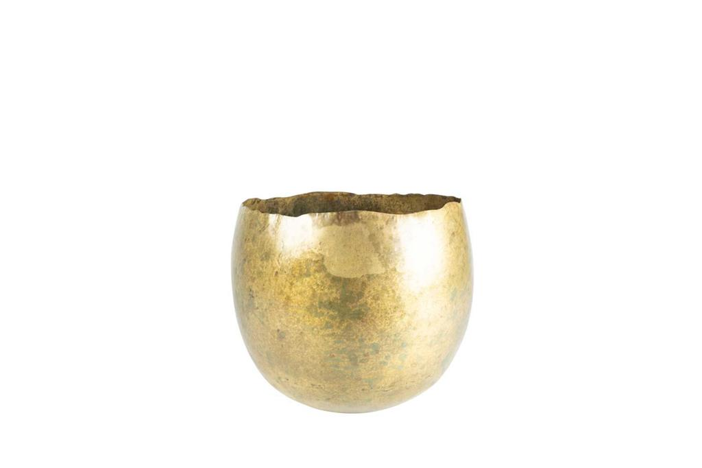 Cachepot de Metal Artesanal Dourado Indiano Ellen 38x31cm
