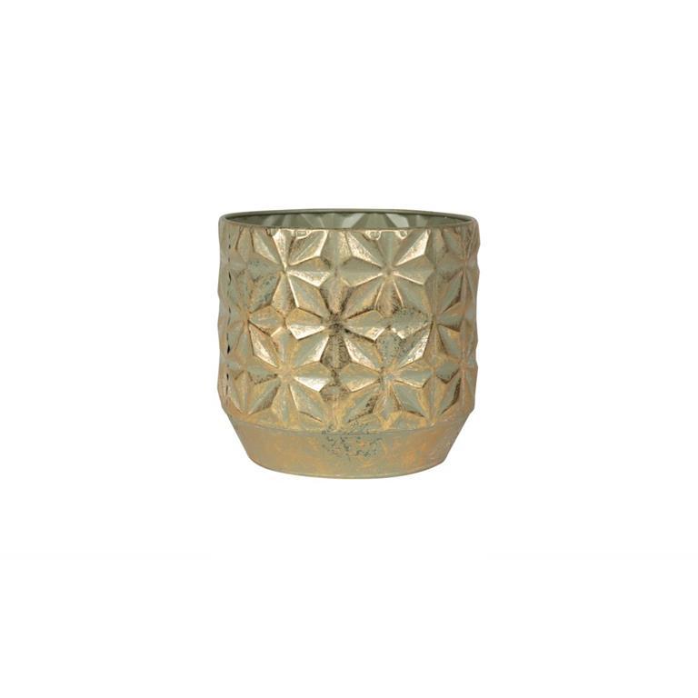 Cachepot de Metal Artesanal Dourado Linske 19x17cm