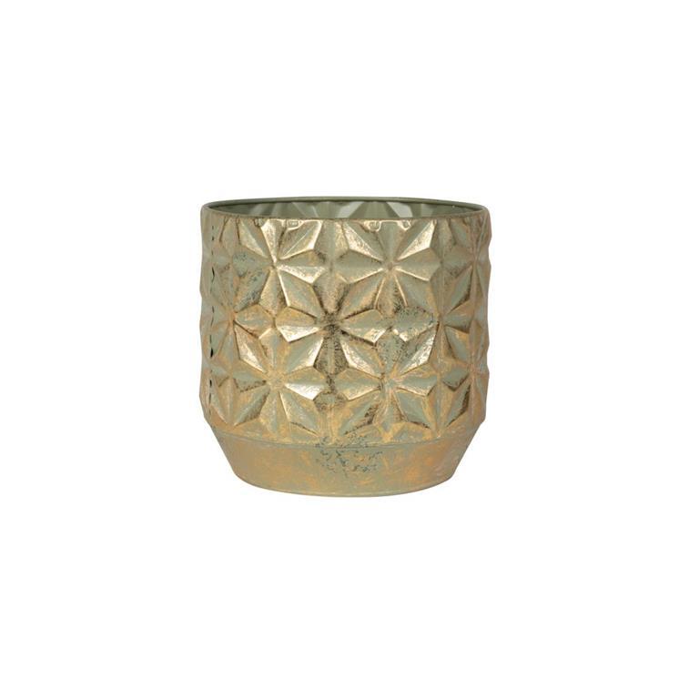 Cachepot de Metal Artesanal Dourado Linske 21x19cm