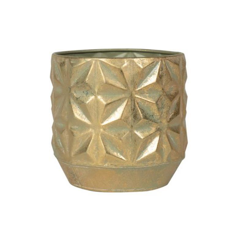 Cachepot de Metal Artesanal Dourado Linske 23x22cm