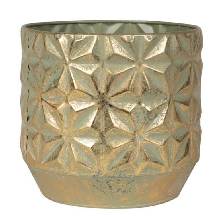 Cachepot de Metal Artesanal Dourado Linske 38x36cm