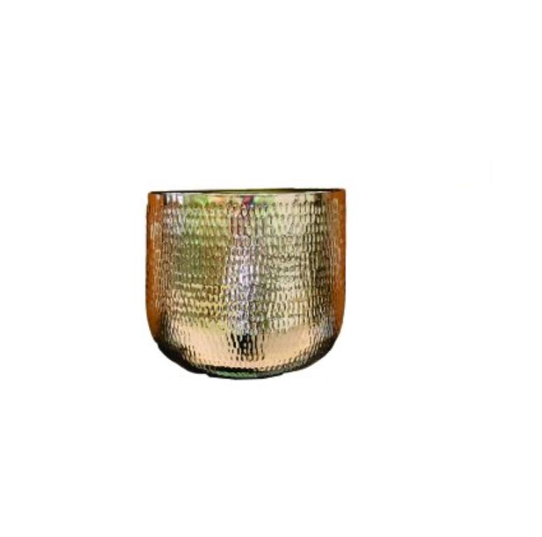 Cachepot de Metal Artesanal Ouro Indiano Jenna 29x24cm
