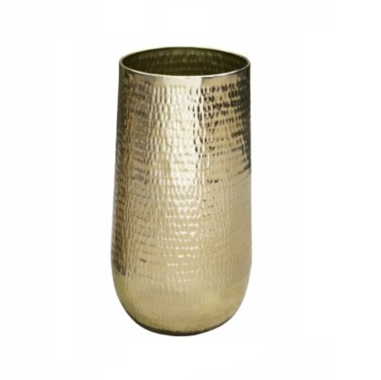 Cachepot de Metal Artesanal Ouro Indiano Jenna 29x50cm