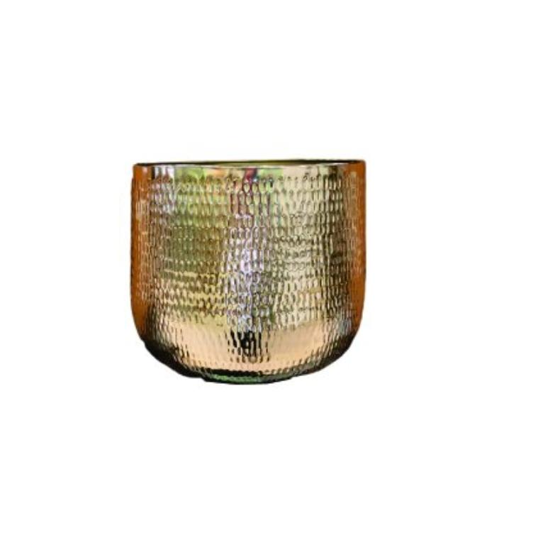 Cachepot de Metal Artesanal Ouro Indiano Jenna 39x33cm