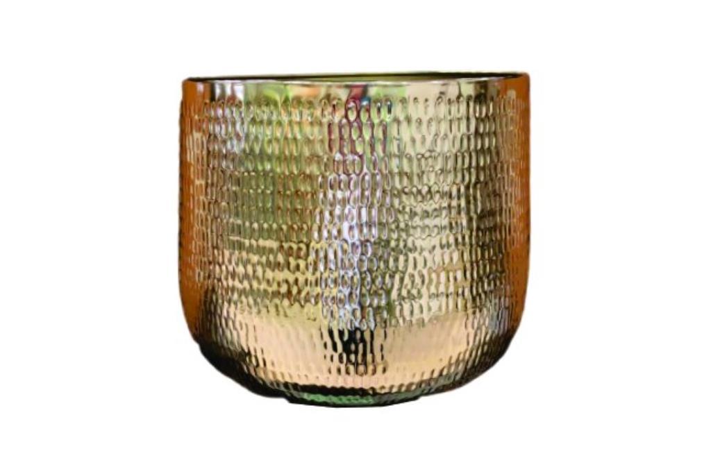 Cachepot de Metal Artesanal Ouro Indiano Jenna 46x38cm